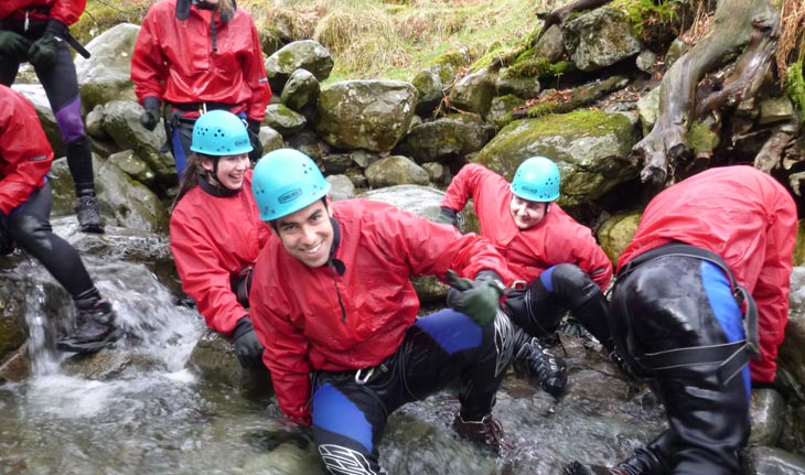 Stag do ghyll scrambling in the Lake District